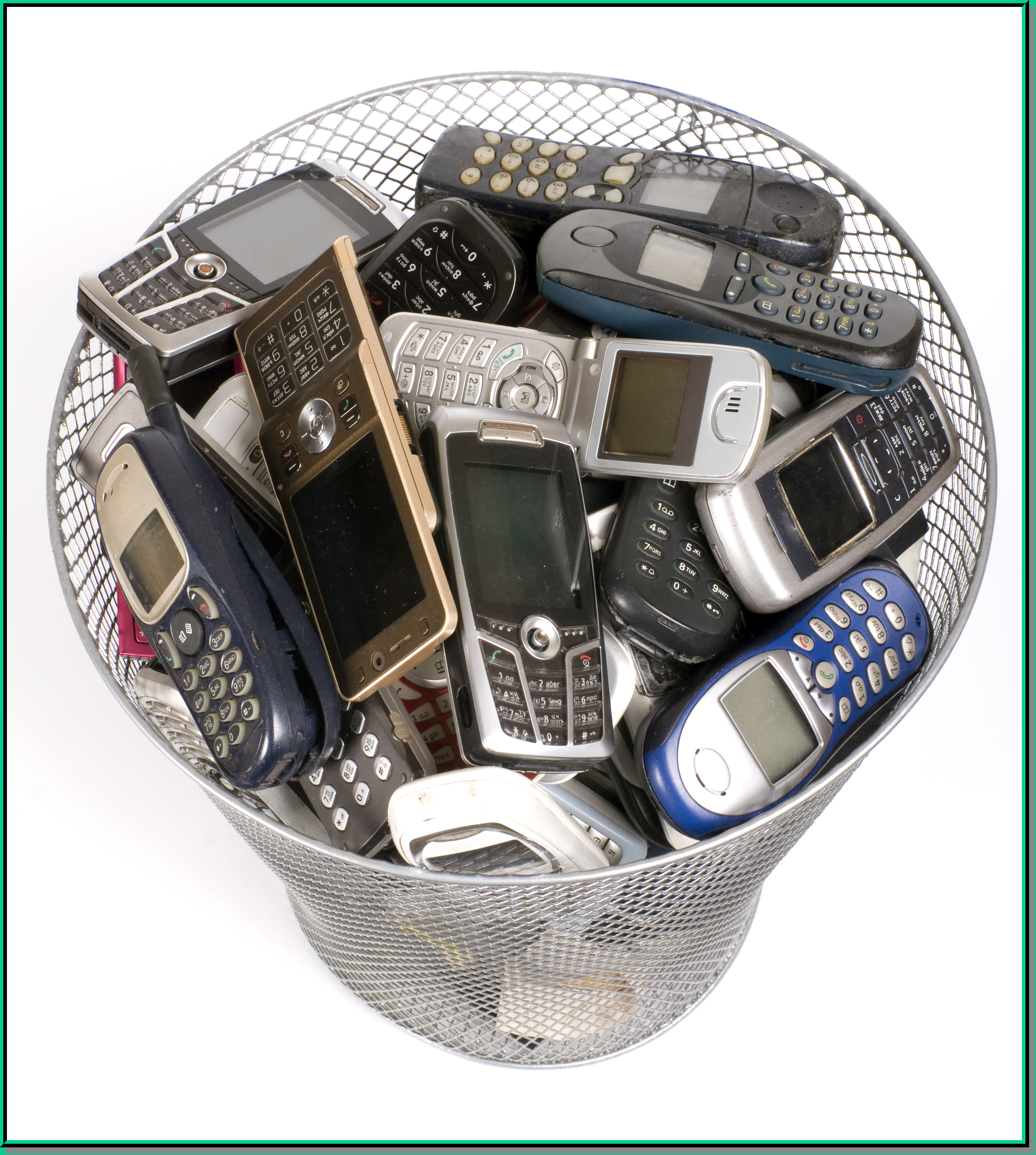 Cell Phones in Trash Can